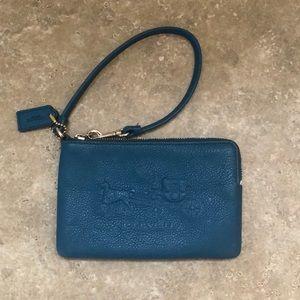 Coach Blue Leather Wristlet
